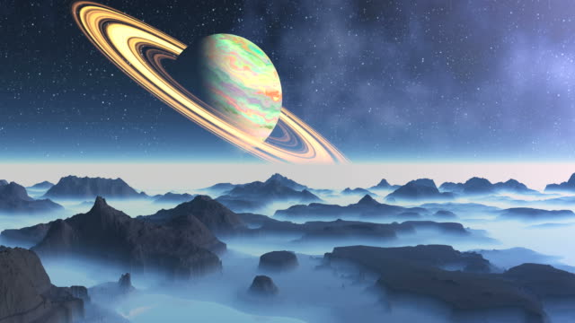 Saturn On A Background Alien Landscape video