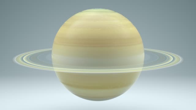 Saturn Rotating Seamless Looping Isolated 4K with Luma Matte