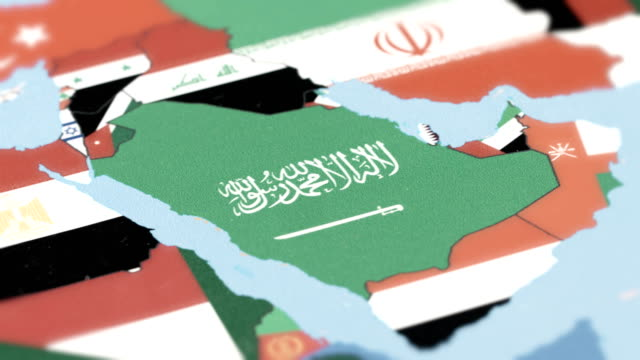 stockvideo's en b-roll-footage met saoedi-arabië grenzen met nationale vlag op wereldkaart - perzische golfstaten