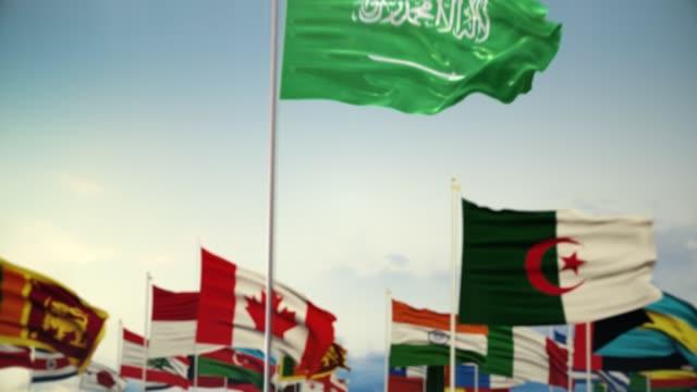 세계 세계 국기 아침 샷을 가진 사우디 아라비아 국기 - saudi national day 스톡 비디오 및 b-롤 화면