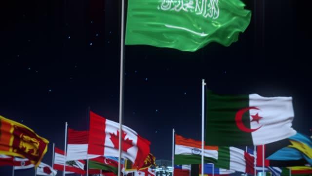 세계 세계 세계 국기 나이트 샷을 가진 사우디 아라비아 국기 - saudi national day 스톡 비디오 및 b-롤 화면