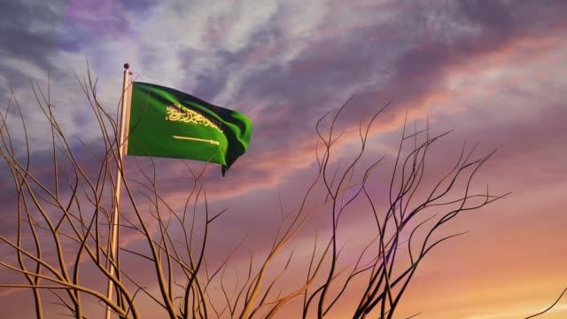 stockvideo's en b-roll-footage met saoedi-arabië vlaggenmast bij zonsondergang die een vrijheidsvlag vliegt - 3d animatie - riyad