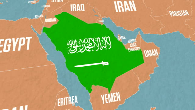 Saudi Arabia Map And Flag On World Map Stock Video - Download Video on world map in oman, world map in kuwait, world map in bahrain,