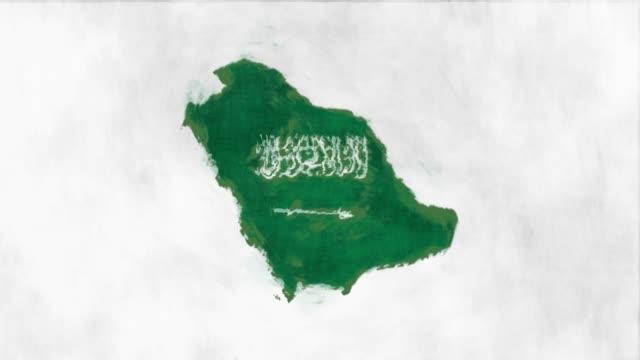 사우디 아라비아 지도 플래그 - saudi national day 스톡 비디오 및 b-롤 화면