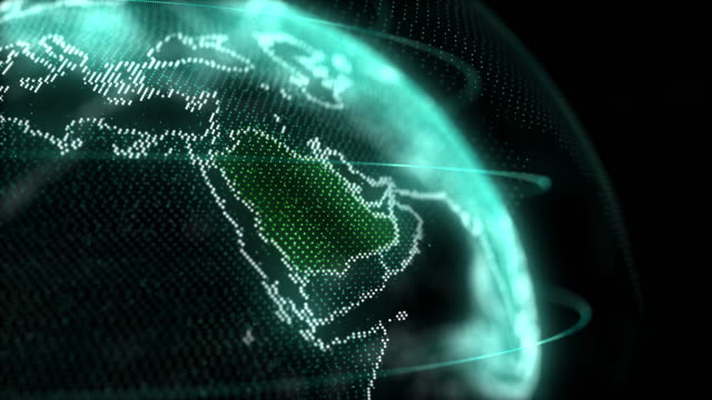 saudi arabia map hologram effect, ksa digital global map, riyadh zoom out - paesi del golfo video stock e b–roll