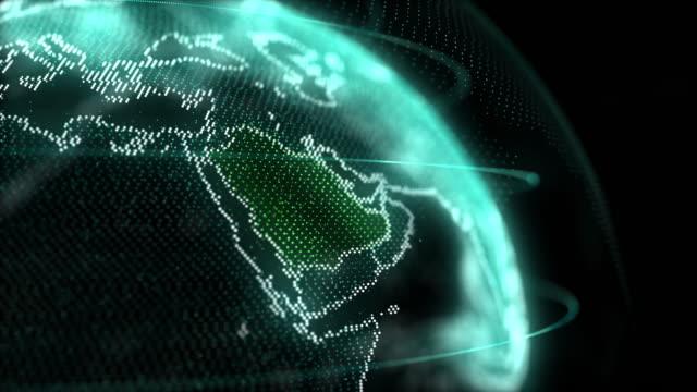vídeos de stock e filmes b-roll de saudi arabia map hologram effect, ksa digital global map, riyadh zoom out - green world