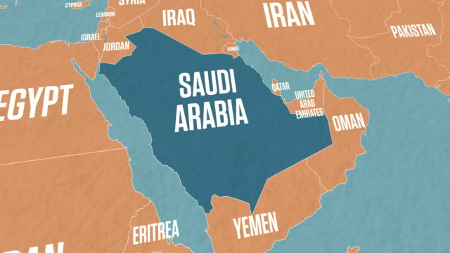 vídeos de stock, filmes e b-roll de mapa da arábia saudita no mapa do mundo - país área geográfica