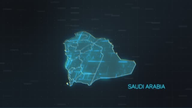 saudi arabia map with world map - paesi del golfo video stock e b–roll