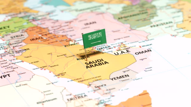saudi arabia with national flag - arabia saudita video stock e b–roll