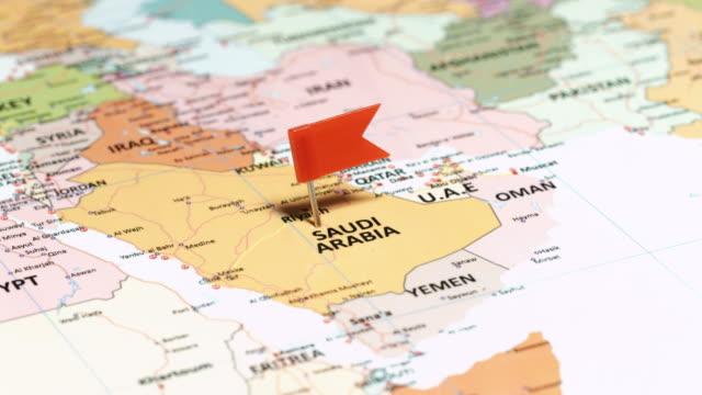 saudi arabia with pin - arabia saudita video stock e b–roll