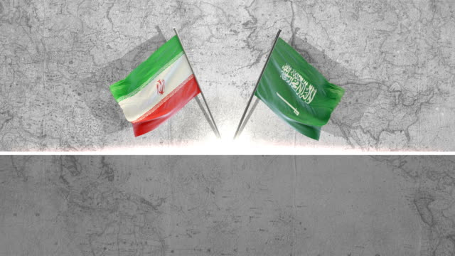 saudi arabian and iranian  flags - paesi del golfo video stock e b–roll