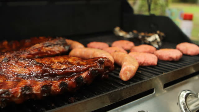 Sausage and Ribs on a grill video