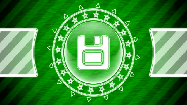 Save icon in circle shape and green striped background. Illustration. Looping footage. website design stock videos & royalty-free footage