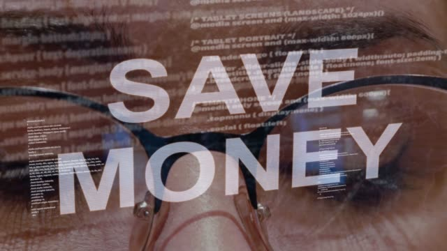 Save money text on female software developer
