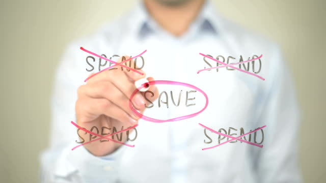 Save, Spend Illustration,  Man writing on transparent screen video