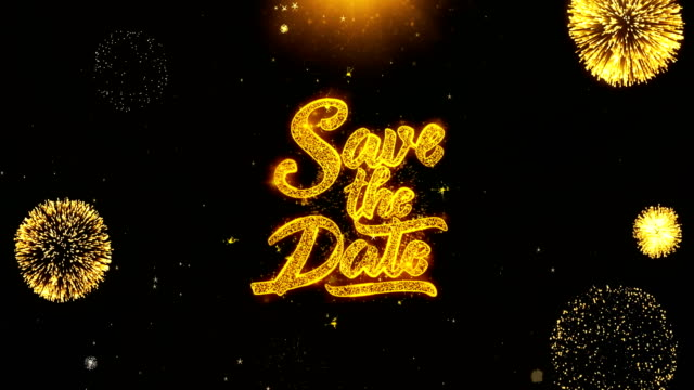 Save the Date Wishes Greetings card, Invitation, Celebration Firework Looped – film
