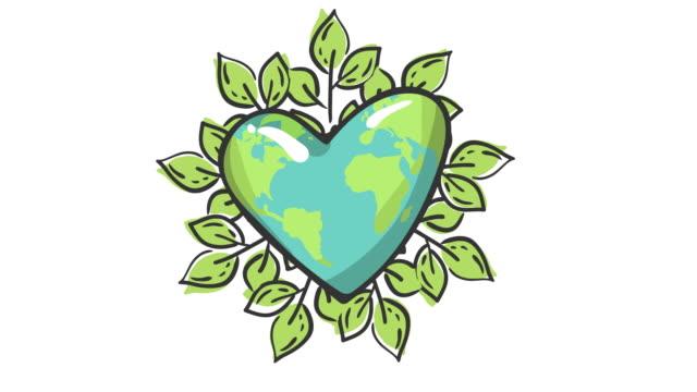 rädda planeten. rörelsegrafik platt animation footage. världskoncept. världsmiljödag. ekologi vänlig. en jordglob. bokstäver. logotyp. begreppet energibesparing, ekologi. hjärtformad jordglob - recycling heart bildbanksvideor och videomaterial från bakom kulisserna