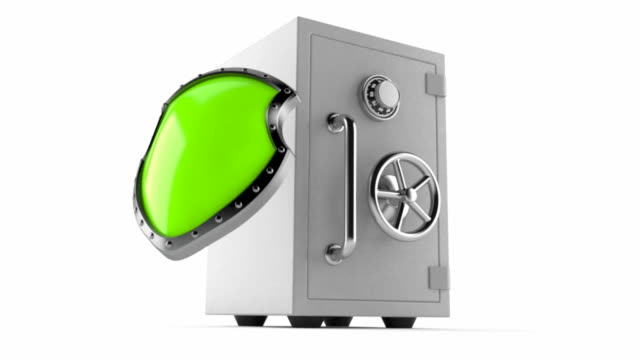 Savings protection Safe with shield isolated on white background shield stock videos & royalty-free footage