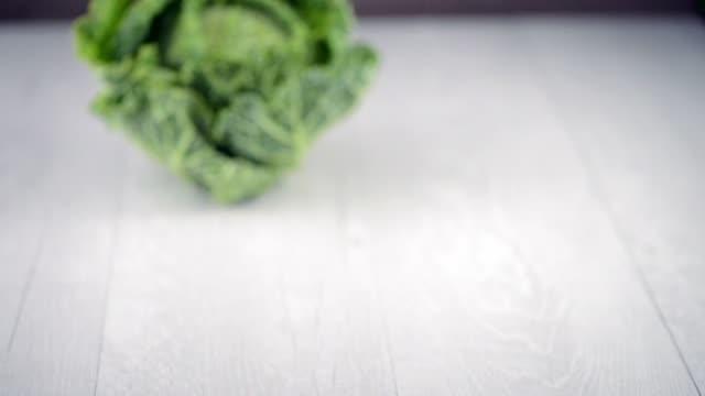 vídeos de stock e filmes b-roll de savoy cabbage - crucíferas