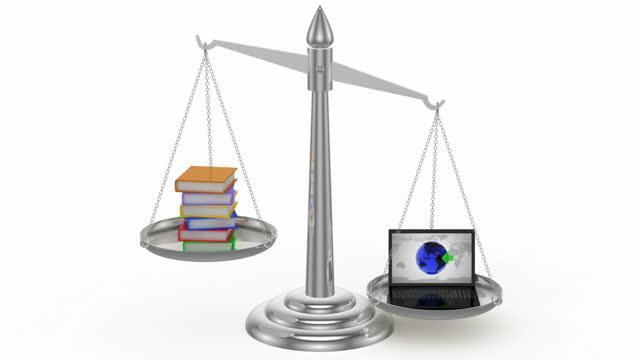scala: libri/netbook - balance graphics video stock e b–roll