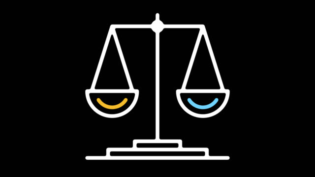 scale of justice line icon animation with alpha - balance graphics video stock e b–roll
