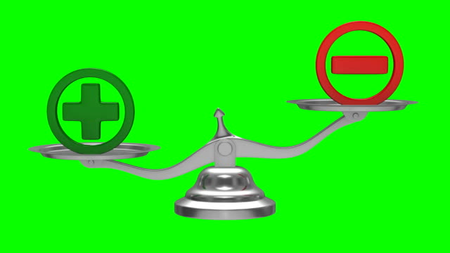 Scales on green background. Sign plus and minus. Isolated 3D render video