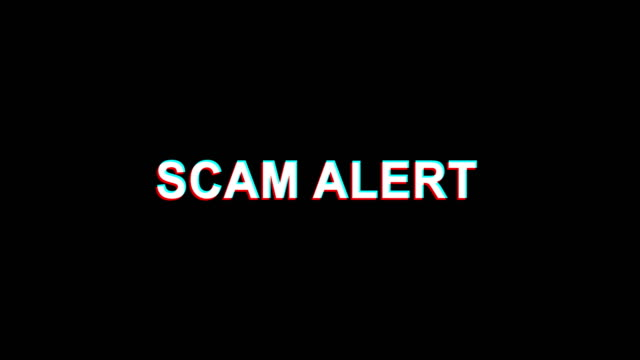 Scam Alert Glitch Effect Text Digital TV Distortion 4K Loop Animation Scam Alert Glitch Text Abstract Vintage Twitched 4K Loop Motion Animation . Black Old Retro Digital TV Glitch Effect Including Twitch, Noise, VHS, Distortion. warning sign stock videos & royalty-free footage