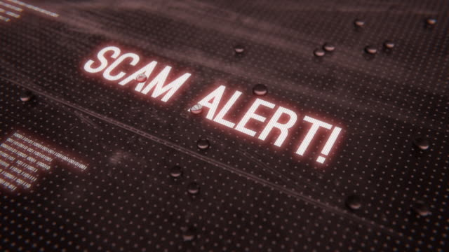 Scam alert! words animation Scam alert! words animation. Abstract title reveal fraud stock videos & royalty-free footage