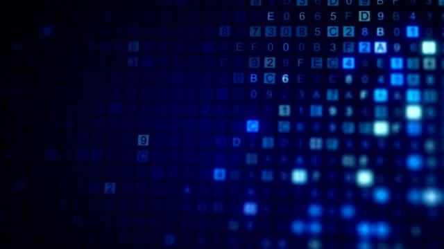 vídeos de stock e filmes b-roll de scan hex digital data code seamless loop animation - bit código binário