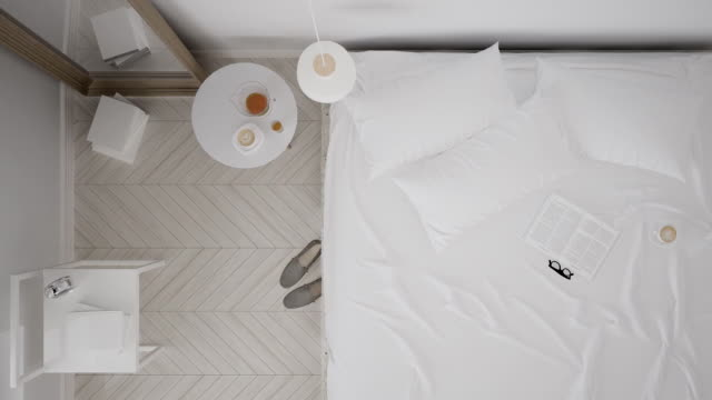 Scandinavian classic white bedroom, top view, interior walk through, steady cam, minimalistic design