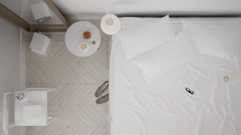 Scandinavian classic white bedroom, top view, interior walk through, steady cam, minimalistic design Scandinavian classic white bedroom, top view, interior walk through, steady cam, minimalistic design fashionable stock videos & royalty-free footage