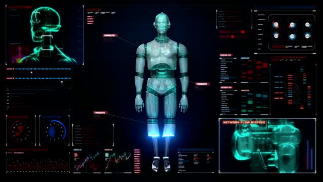 Scanning 3D robot body in digital interface. video