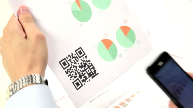 Scanning advertising with quick response code on mobile smartphone. video