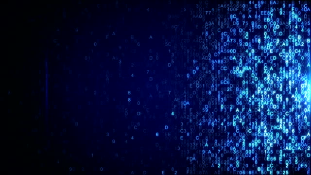 Scanning digital data blue hex code seamless loop animation video