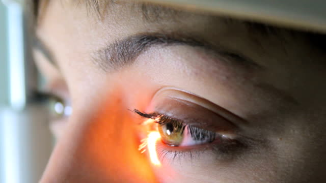 Scanning the retina among women with green eyes special ophthalmic device close-up Scanning the retina among women with green eyes special ophthalmic device close-up Full HD eye exam stock videos & royalty-free footage