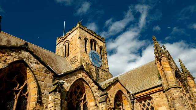 Scarborough, North Yorkshire, England, UK Immersive establishing shot of the medieval St Marys Church in Scarborough, North Yorkshire, England, UK, during sunset wide angle stock videos & royalty-free footage