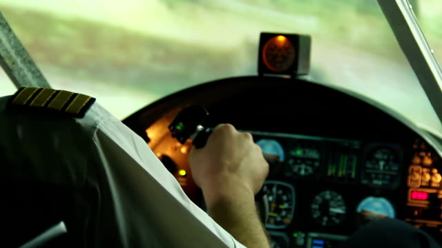 Scared pilot having heart attack in cockpit, airplane falling down, air crash video
