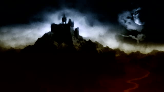 Scary dark castle on the hill above the river. video