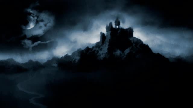 vídeos de stock, filmes e b-roll de assustador escuro castelo. - castelo