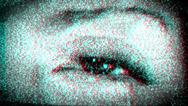 Scary Eye in TV Static. HD video