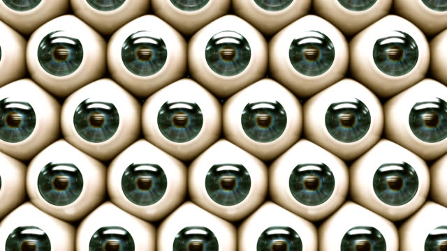 Scary eyeballs look around, then look at you. Animation is looped. video