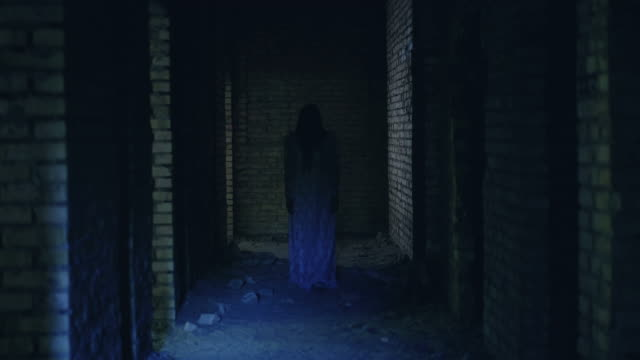 Scary ghost wandering creepy haunted house, dead bride soul looking for peace