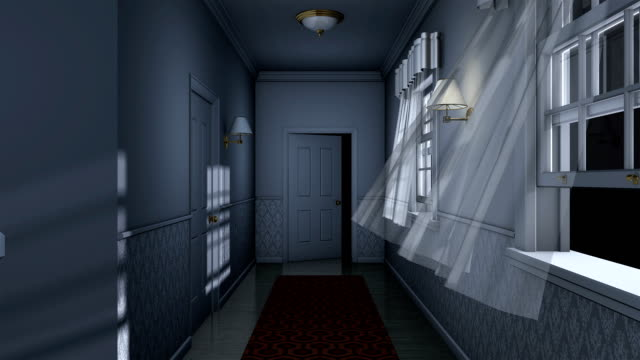 scary house hallway camera traveling high definition video