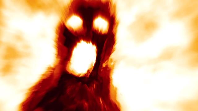 Ombre de monstre effrayant en arrière-plan de feu - Vidéo