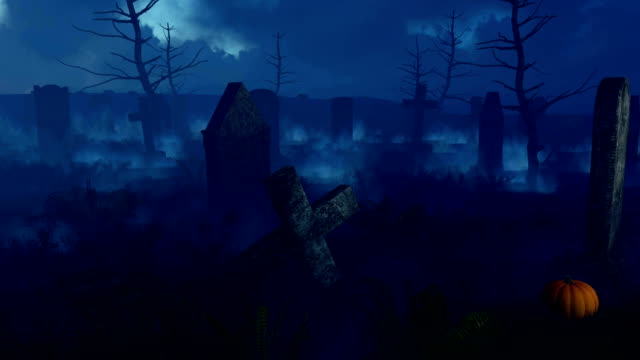 Scary night cemetery with halloween pumpkins video