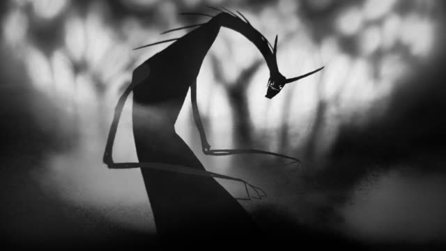 scary, spooky monster staring and standing in the dark woods misty forest with smokes halloween, horror, thriller, character design concepts 4k black and white video - potwór filmów i materiałów b-roll
