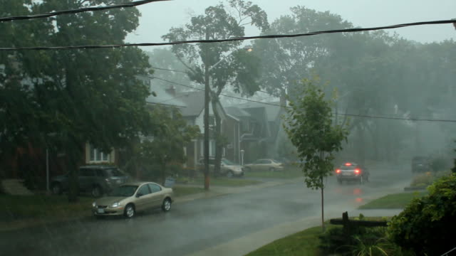 Scary suburban storm. video
