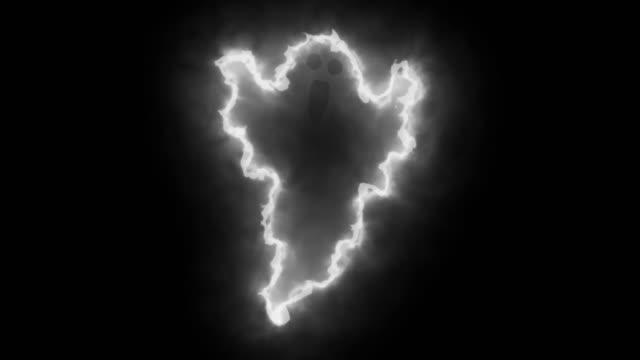 可怕的白色和黑動畫在黑暗中發光。萬聖節的電腦動畫資源 - halloween candy 個影片檔及 b 捲影像