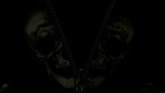 Scary zipper with skull. Animation of black zip fastener with skull. Mask included. doing the splits stock videos & royalty-free footage