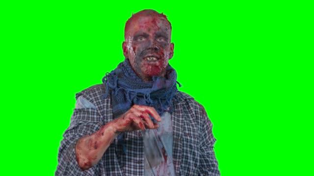 points de zombie effrayant au doigt de l'angle supérieur droit - Vidéo